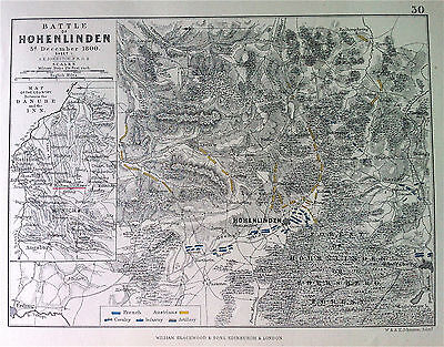 Military Map Plan Battle of HOHENLINDEN c1800 engraved by A K JOHNSTON c1875