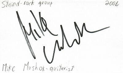 Mike Mushok Guitarist Staind Rock Band Music Autographed Signed Index Card