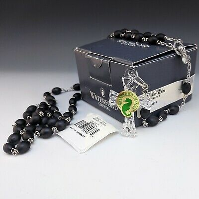 Waterford Traditional ROSARY Beads Black w/ Crystal Cross Mint Condition