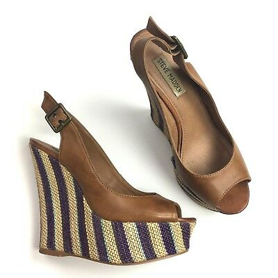 97a73869d07 Steve Madden Womens Witnes Wedge Heels Size 6.5 Cognac Leather Slingback  Stripe