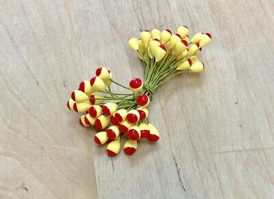 f4bd035179b Vintage Millinery Large Flower Stamen Pips Yellow Red Hat Supplies NOS  Double