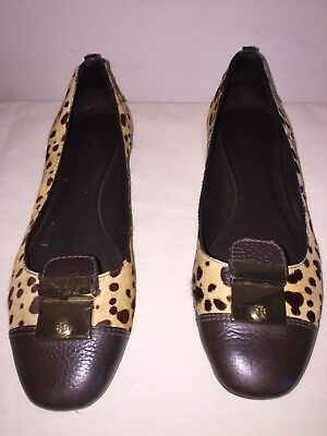 9bf045d67 Tory Burch Brown Pony Hair Leopard Flats Sz 10 Women s Shoes with Gold  Hardware
