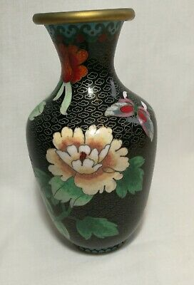 Antique Chinese Qing Dynasty Cloisonne Vase H18cm for collection