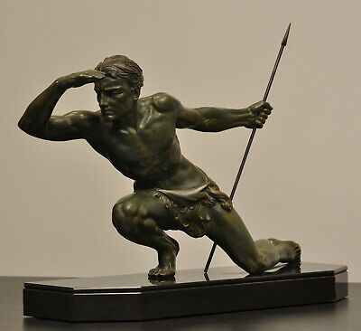 French Art Deco Sculpture of a Spear Hunter Jean de Roncourt, circa 1940.