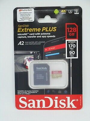 New SanDisk Extreme PLUS A2 128GB microSDXC UHS-I Memory Card with Adapter 4k