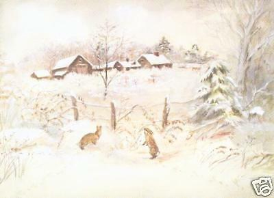 1 MINT Vintage Tasha Tudor Christmas Card of Her Own Home Corgi Cottage w Envelp