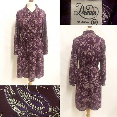 Vintage 1940s Style Purple Plum Belted Paisley Pattern Tea Dress Size 14 16