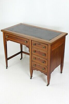 Antique Edwardian Mahogany Desk -Small Inlaid Writing Table Bureau Chest Drawers