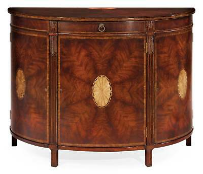 Georgian Style Mahogany Demilune Marquetry Sideboard Buffet,48''x38''H