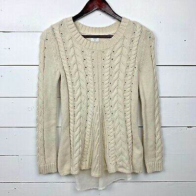 518d220933 CAbi Womens Extra Small Cream White Lace-up Sweater Cable Knit Layered  Pullover
