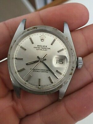 Rolex 1600 Stainless Steel 36mm Oyster Perpetual Datejust Watch 1960s No Bezel