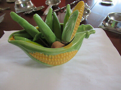 Vintage Retro Corn Holders In Container With Brush Japan