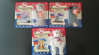 Set 3 Ty McDonalds Beanie Babies American Patriotic Trio Lefty Righty  Libearty c0d75bd308d6