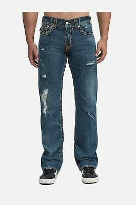 True Religion Mens $249 Jeans Ricky Straight Leg Big T Rusted Saloon 100679