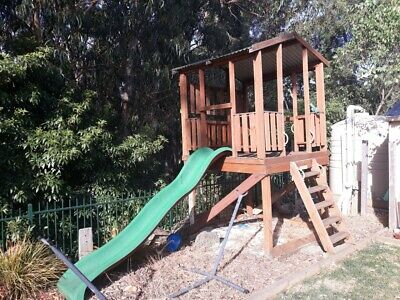 Cubby House Double Story slide climbing ropes ladder sand pit wooden Melbourne