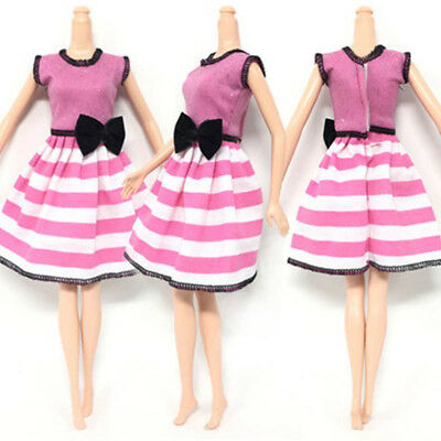 "Causal Wear Clothes For 11.5"" Dolls Pink Princess Black Bowknot Short Dresses"