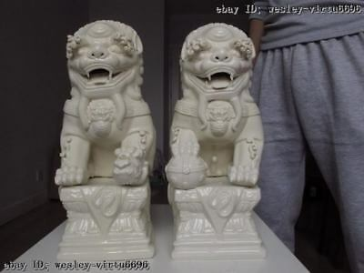 Chinese White porcelain Feng Shui Evil Guardian Door Fu Foo Dog Lion Statue Pair