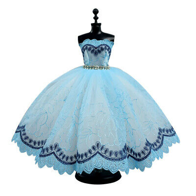 Blue Multi-layer Dress Off-shoulder Clothes For 11.5inch Doll Party Dresses Toy