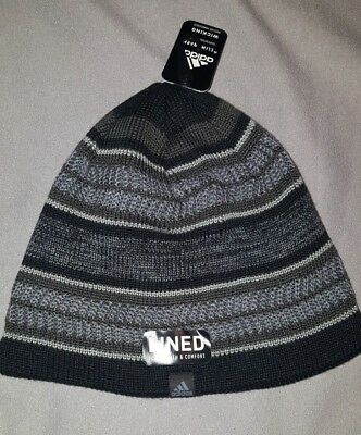Adidas Optimal Beanie Adult Hat Climawarm Lined Black Grey New Mens 5146543 3e2d5115f8a9