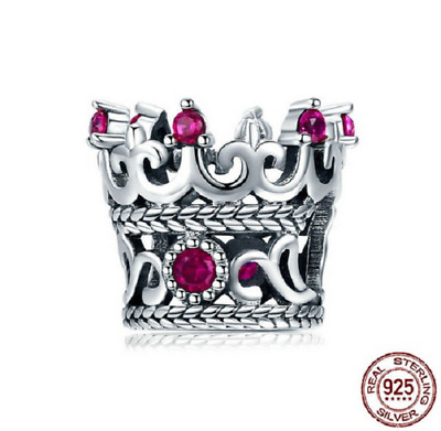 e56b3275b 100% 925 Sterling Silver Queen's Crown Pink CZ Crystal Charm Beads pandora