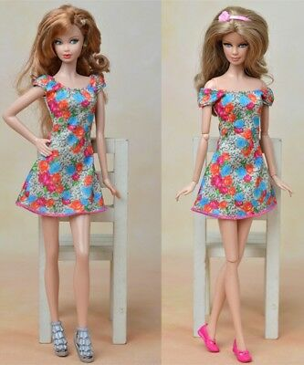 """Dolls Clothes For 11.5"""" Doll Flowers Dress Party Gown Summer Short Sleeve Dress"""