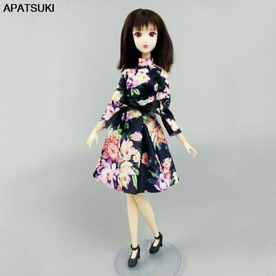 """Fashion Clothes For 11.5"""" Doll Dress 1:6 Green Flower Long Sleeve Short Dresses"""