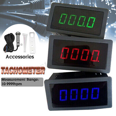 Car Motorcycle RPM 4 Digital Motor Tachometer Speed Measure Meter 5-9999 Red LED