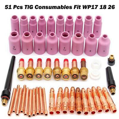 TIG Gas Lens Collet Body Consumables Kit Fit WP 17 18 26 TIG Welding Torch 51pcs