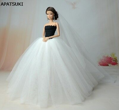 "White Wedding Dress For 11.5"" Doll 1/6 Party Dresses +Veil 1:6 Doll Accessories"