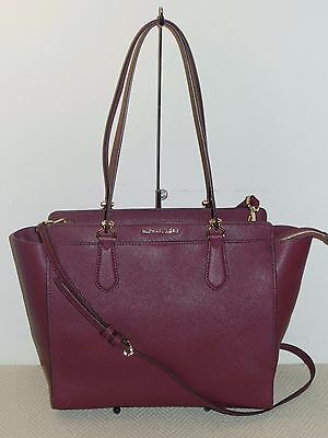 f6c82559aa71 Pre-owned Michael Kors Dee Dee Large Signature Convertible Tote Leather Plum