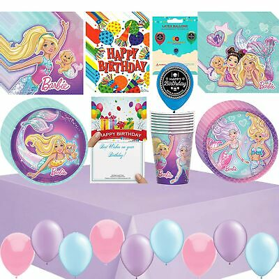 Barbie Mermaid Birthday Party Supplies Bundle Of Cups Plates Napkins Balloons