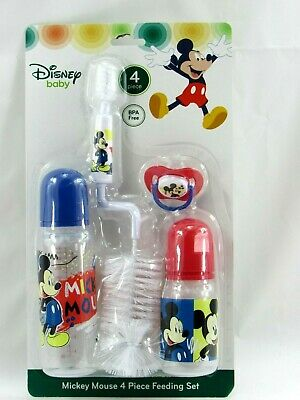 Disney Baby Mickey Mouse 4 Piece Feeding Set Bottle Brush & Pacifier New