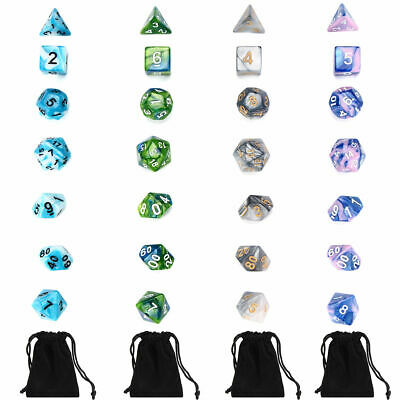 7pcs/Set Polyhedral Dice for DND RPG MTG Game Dungeons & Dragons D4-D20 Colors