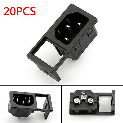 20x IEC320 C14 3 Pin Male Power Socket With Switch 10A 250V Pour Boat AC-05AS AF