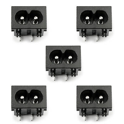 5xIEC320 C8 2 Pin Male Power Socket With Switch 2.5A 250V Pour Boat AC-20BW AF