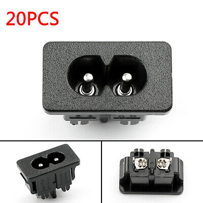 20PC IEC320 C8 2 Pin Male Power Socket With Switch 2.5A 250V Pour Boat AC-2KA AF