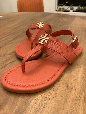 7ddeb2b7f New 2019 Tory Burch sandals size 5 (5B) Orange Leather With Gold Hardware