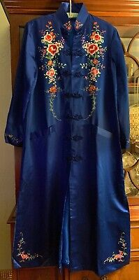 1b42e54b6d Vintage 60 s Blue Silk Embroidered Chinese Long Robe- Size 38-Brand New!