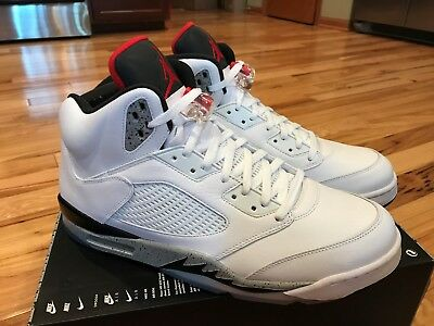 ee57ee3d84ec NIKE AIR JORDAN 5 Retro White Cement Grey Red Black 136027-104 Size ...
