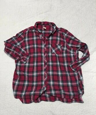 4a4864dad9f Riders by lee womens short sleeve pink plaid button down shirt top blouse 4X
