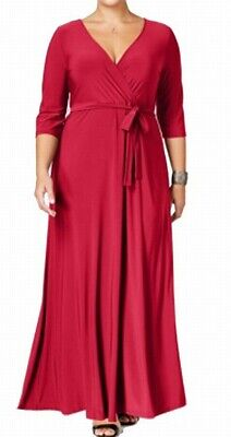 e4465ae448 Love Squared NEW Magenta Pink Womens Size 2X Plus Surplice Maxi Dress  59  294