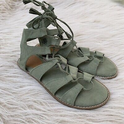98d904cea6e4 Old Navy Womens Gladiator Sandal Lace Up Green Jade Suede Boho Flat 7 Nwot