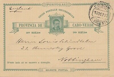 Cabo Verde: 1893: post card St. Vicente to Nottingham