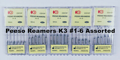 10Pack Dental Bur Endodontic Root Canal files K3 Peeso Reamers Rotary 32mm 1-6#