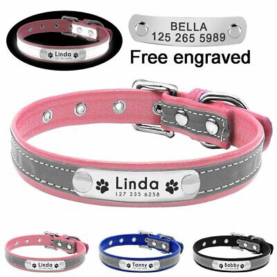 Leather Personalised Dog Collar Custom Pet Cat Name ID Tags Nameplate Reflective
