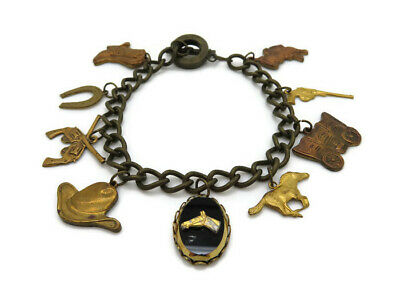 Vintage Brass Cowboy Horse Country Gun Saddle Multi Charm Chain Toggle Bracelet
