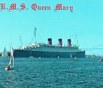 RMS Queen Mary Royal Mail Ship Long Beach CA Vintage Postcard