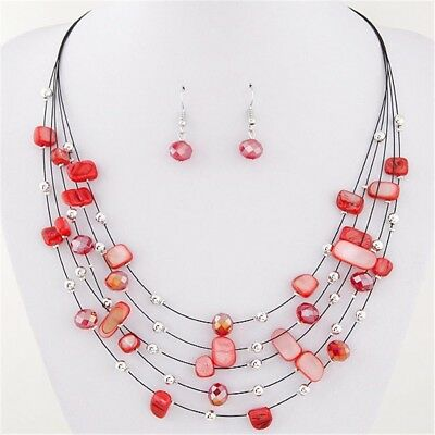 Women Engagement Multi Layer Necklace Earrings Set Crystal Jewelry Sets