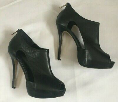 7b3904c8530 Aldo Peep Toe Cut out Heels Shoes Black Sz 9 Zipper Heel See pictures