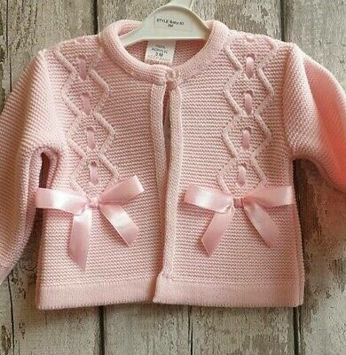 Beautiful Spanish Style Baby Girl Pink Cardigan With Bows
